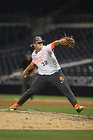Anthony Locey (32) of the East team pitches during the 2015 Perfect Game All-American Classic at Petco Park on August 16, 2015 in San Diego, California. The East squad defeated the West, 3-1. (Larry Goren/Four Seam Images)