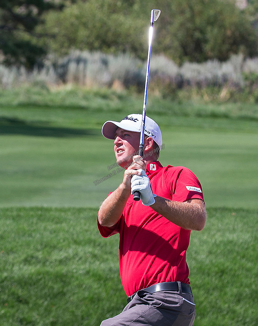 Tom Hoge swings during the Barracuda Championship PGA golf tournament at Montrêux Golf and Country Club in Reno, Nevada on Saturday, July 27, 2019.