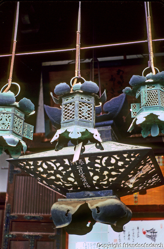 Nara: Bronze lanterns, Nigatsu Hall. Photo '81.