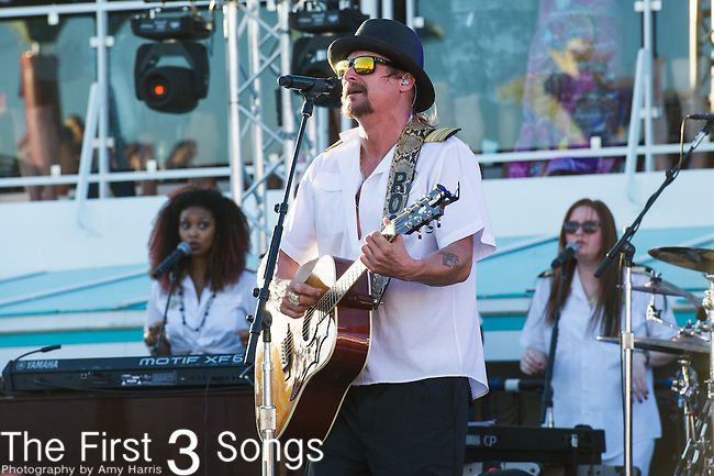Kid Rock (Robert Ritchie) performs during his sailaway concert on the Kid Rock's 5th Annual Chillin' the Most Cruise. The cruise left Miami, Florida on March 3, 2014 sailing to Key West, Florida and Grand Stirrup Cay (Bahamas), returning on March 7, 2014. The event, produced by Sixthman, featured performances by Kid Rock and other musical artists.