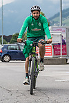 09.07.2019, Parkstadion, Zell am Ziller, AUT, TL Werder Bremen Zell am Ziller / Zillertal Tag 05<br /> <br /> im Bild<br /> Claudio Pizarro (Werder Bremen #14) auf Mountainbike nach Trainingsende, <br /> <br /> Foto © nordphoto / Ewert