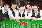 TIME OUT: Taking a break at the Munster Snooker finals in the INEC Killarney last Friday were l-r: Declan OConnor, Derry OSullivan, Donie ODonoghue, John Friel and Paddy Murphy (all Killarney)..