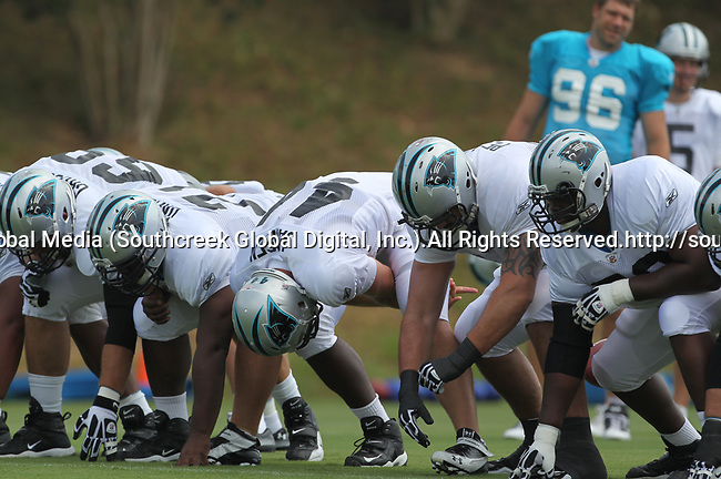 30July2010: The Carolina Panther place kicking unit practices. The Panthers held an afternoon training camp session at Wofford College in Spartanburg, South Carolina.