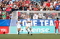 Cary, NC - Sunday October 22, 2017: Samantha Mewis celebrates after her second goal during an International friendly match between the Women's National teams of the United States (USA) and South Korea (KOR) at Sahlen's Stadium at WakeMed Soccer Park. The U.S. won the game 6-0.