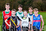 the first runners home in the Minor boys race at the Kerry Colleges Cross Country in Killarney on Friday front row l-r: Oscar Donnegan 4th PS Chorca Dhuibhe, Cathal Murphy 3rd Mercy Mounthawk, Michael Lynch St Brendans 1st, Tommy Arthur 2nd PS Inbhear Sceine, Finn Kennelly 5th St Brendans, Liam Hayes 6th IS Killorglin