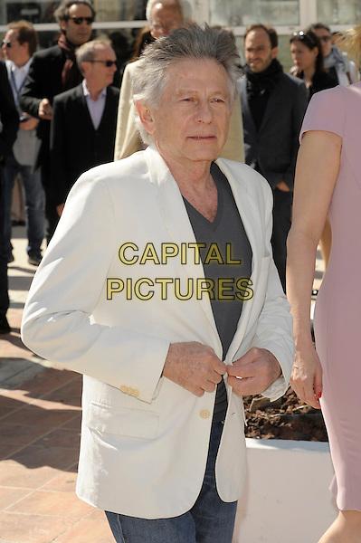 Roman Polanski.'La Venus A La Fourrure'  photocall at the 66th Cannes Film Festival, France 23rd May 2013.half length white suit jacket grey gray top jeans denim    .CAP/PL.©Phil Loftus/Capital Pictures.
