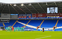 4th January 2020; Cardiff City Stadium, Cardiff, Glamorgan, Wales; English FA Cup Football, Cardiff City versus Carlisle; Cardiff City and Carlisle United line up for for the Take a Minute campaign that plays before kick off - Strictly Editorial Use Only. No use with unauthorized audio, video, data, fixture lists, club/league logos or 'live' services. Online in-match use limited to 120 images, no video emulation. No use in betting, games or single club/league/player publications