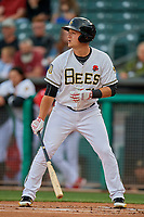 Matt Thaiss (21) of the Salt Lake Bees bats against the Tacoma Rainiers at Smith's Ballpark on May 27, 2019 in Salt Lake City, Utah. The Bees defeated the Rainiers 5-0. (Stephen Smith/Four Seam Images)