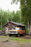 USA, Alaska, Talkeetna, a cabin at Willow Creek State Receration area, Hwy 3 between Talkeetna and Anchorage