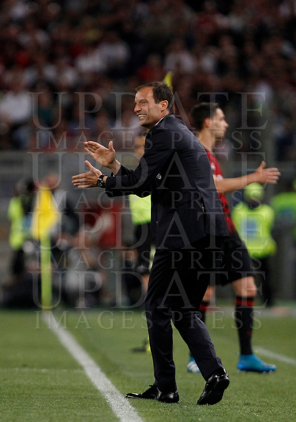 Calcio, finale Tim Cup: Milan vs Juventus. Roma, stadio Olimpico, 21 maggio 2016.<br /> Juventus coach Massimiliano Allegri during the Italian Cup final football match between AC Milan and Juventus at Rome's Olympic stadium, 21 May 2016.<br /> UPDATE IMAGES PRESS/Isabella Bonotto