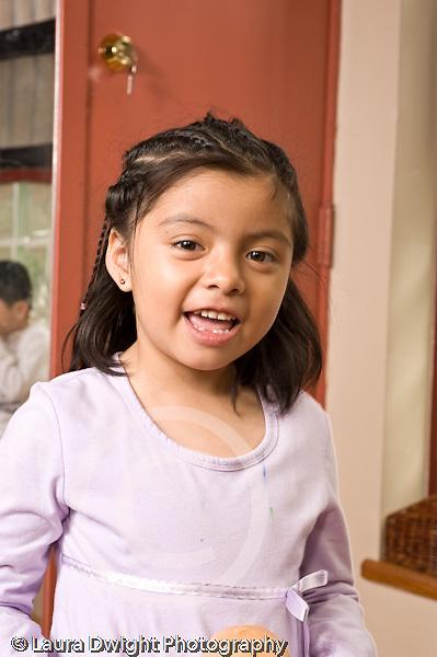 Education preschoool children ages 3-5 portrait of talking girl closeup