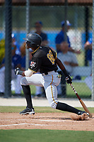 Pittsburgh Pirates right fielder Juan Pie (88) hits a single during a Florida Instructional League game against the Toronto Blue Jays on September 20, 2018 at the Englebert Complex in Dunedin, Florida.  (Mike Janes/Four Seam Images)