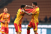 Filippo Bandinelli of Benevento celebrates scoring a goal <br /> Milano 13-1-2019 Stadio Giuseppe Meazza <br /> Football Italy Cup 2018/2019 Inter - Benevento 6-2 <br /> Foto Image Sport  / Insidefoto