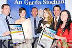 HELPING HAND: Pupils from Pobscoil Inbhels, Kenmare who were over the moon with theie Lee Stran Garda Merit Awatrd in the Brandon Hotel, Tralee on Friday night, with the community Garda and their teachers. L-r: Inspector Donal Ashe,, Aine Cooper, Pat Rice (Community Garda),Ellie Gudgeon,Dermot Healy (principal) and....