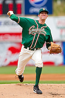Starting pitcher Jared Rogers #28 of the Greensboro Grasshoppers in action against the Hickory Crawdads at L.P. Frans Stadium on May 18, 2011 in Hickory, North Carolina.   Photo by Brian Westerholt / Four Seam Images