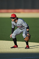 Louisville Cardinals first baseman Ben Bianco (6) on defense against the Wake Forest Demon Deacons at David F. Couch Ballpark on March 7, 2020 in  Winston-Salem, North Carolina. The Demon Deacons defeated the Cardinals 3-2. (Brian Westerholt/Four Seam Images)