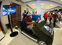 Eyes on the Road-Chris Paynes, a senior criminology major from Greenwood, tests out the &quot;It Can Wait&quot; virtual reality simulator, set up Friday in Colvard Student Union. The simulator demonstrates the dangers of distracted driving and is part of  AT&amp;T&rsquo;s &ldquo;It Can Wait&rdquo; Virtual Reality Egg Bowl. Through Nov. 11, MSU is competing against the University of Mississippi to get the most fans to take a pledge against distracted driving by texting &ldquo;ICWMSU&rdquo; to 50555. The school with the most people taking the pledge will be named winner of the &ldquo;It Can Wait&rdquo; Virtual Reality Egg Bowl.<br />
