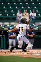 Bradenton Marauders Daniel Amaral (43) at bat during a Florida State League game against the Charlotte Stone Crabs on April 10, 2019 at LECOM Park in Bradenton, Florida.  Bradenton defeated Charlotte 2-1.  (Mike Janes/Four Seam Images)