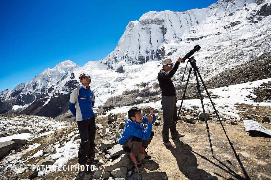 Ueli Steck returned to Nepal and the Annapurna south face in 2013 which he climbed solo, without oxygen, in one 28 hour alpine push, via a new route. The trip was his third attempt to climb the 8000 meter peak. Ueli's friends waited in advance basecamp and nervously watched his progress through a long lens.