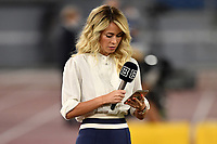 The Tv presenter Diletta Leotta looks at her mobile phone prior to the Serie A football match between SS Lazio and Cagliari Calcio at Olimpico stadium in Rome ( Italy ), July 23th, 2020. Play resumes behind closed doors following the outbreak of the coronavirus disease. Photo Andrea Staccioli / Insidefoto
