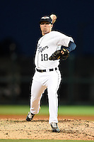 Lakeland Flying Tigers pitcher Kevin Eichhorn (18) during a game against the Tampa Yankees on April 3, 2014 at Joker Marchant Stadium in Lakeland, Florida.  Tampa defeated Lakeland 4-0.  (Mike Janes/Four Seam Images)