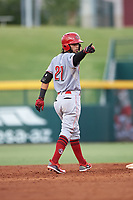 AZL Reds Jorge Sequera (27) points at the third base coach after hitting a double during an Arizona League game against the AZL Cubs 2 on July 23, 2019 at Sloan Park in Mesa, Arizona. AZL Cubs 2 defeated the AZL Reds 5-3. (Zachary Lucy/Four Seam Images)