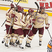 - The Boston College Eagles defeated the visiting Harvard University Crimson 3-1 in their NCAA quarterfinal matchup on Saturday, March 16, 2013, at Kelley Rink in Conte Forum in Chestnut Hill, Massachusetts.