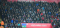 Burnley fans watch on during the game <br /> <br /> Photographer Ashley Crowden/CameraSport<br /> <br /> The Premier League - Swansea City v Burnley - Saturday 10th February 2018 - Liberty Stadium - Swansea<br /> <br /> World Copyright &copy; 2018 CameraSport. All rights reserved. 43 Linden Ave. Countesthorpe. Leicester. England. LE8 5PG - Tel: +44 (0) 116 277 4147 - admin@camerasport.com - www.camerasport.com