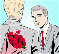 Gay man with bouquet of roses for his boyfriend