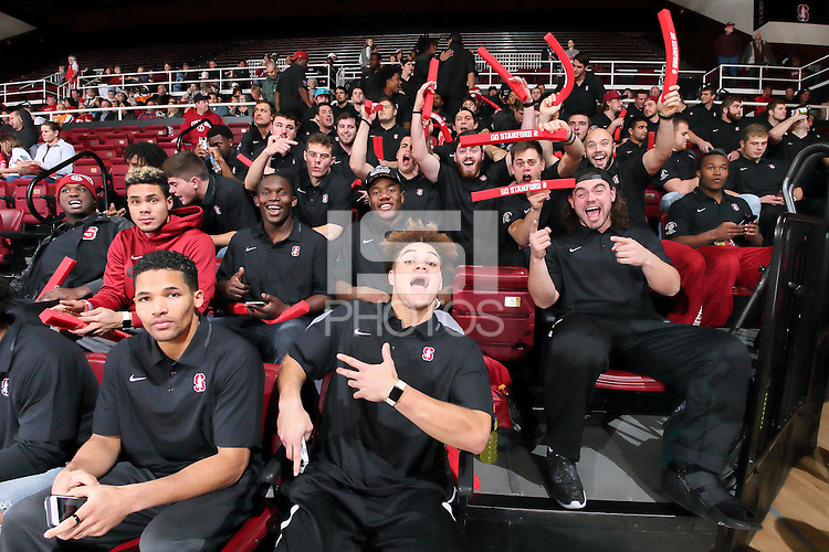STANFORD, CA - December 16, 2015: Stanford Cardinal defeats Tennessee Lady Volunteers 69-55 at Maples Pavilion.  Stanford's Football team shows their support.