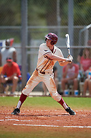 Saint Joseph's Hawks center fielder Brendan Hueth (25) bats during a game against the Ball State Cardinals on March 9, 2019 at North Charlotte Regional Park in Port Charlotte, Florida.  Ball State defeated Saint Joseph's 7-5.  (Mike Janes/Four Seam Images)