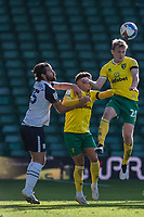 Preston North End's Joe Rafferty (left) battles for possession with Norwich City's Ben Godfrey (centre) and Oliver Skipp (right) <br /> <br /> Photographer David Horton/CameraSport<br /> <br /> The EFL Sky Bet Championship - Norwich City v Preston North End - Saturday 19th September 2020 - Carrow Road - Norwich<br /> <br /> World Copyright © 2020 CameraSport. All rights reserved. 43 Linden Ave. Countesthorpe. Leicester. England. LE8 5PG - Tel: +44 (0) 116 277 4147 - admin@camerasport.com - www.camerasport.com