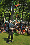 "Juggler, ""Nate the Great""  Marshall, performing in the Food Court area, during the 2012 Clearwater Festival at Croton Point Park on Saturday, June 16, 2012. Photograph taken by Jim Peppler. Copyright Jim Peppler/2012"