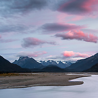 Dusk over Rees River with Southern Alps in background, Mount Aspiring National Park, UNESCO World Heritage Area, Central Otago, New Zealand, NZ