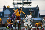 Motherwell 3 Dundee 1, 12/12/2015. Fir Park, Scottish Premiership. Home forward Louis Moult scoring with a header to put his team two-nil ahead in the first-half as Motherwell (in amber) play Dundee in a Scottish Premiership fixture at Fir Park. Formed in 1886, the  home side has played at Fir Park since 1895. Motherwell won the match by three goals to one, watched by a crowd of 3512 spectators. Photo by Colin McPherson.