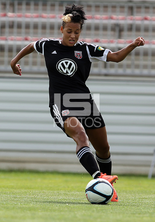 BOYDS, MARYLAND - July 22, 2012:  Lianne Sanderson (10) of DC United Women in action against the Charlotte Lady Eagles during the W League Eastern Conference Championship match at Maryland Soccerplex, in Boyds, Maryland on July 22. DC United Women won 3-0.