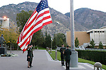 Members of the BYU Cougar Battlion raise the flag on Sept. 22, 2004...Erin Machamer-234-0782.Andrew Archer-607-3908.Jared Pla(t)udis-371-3433.Chris Rode(a)rmel-themanbat@hotmail.com..Photo by Steve Walters/BYU