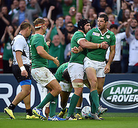 Rob Kearney of Ireland celebrates his second half try. Rugby World Cup Pool D match between Ireland and Romania on September 27, 2015 at Wembley Stadium in London, England. Photo by: Patrick Khachfe / Onside Images