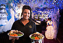 04/12/14<br /> <br /> Waitress Sophie Parkes-Morgan (19). <br /> <br /> The Hanging Gate pub in Chapel en le Frith, in the Derbyshire Peak District claims to have the largest display  of Christmas decorations inside its bar and restaurants. <br /> <br /> Full story here: http://www.fstoppress.com/articles/christmas-pub/<br /> <br /> ***ANY UK EDITORIAL PRINT USE WILL ATTRACT A MINIMUM FEE OF &pound;130. THIS IS STRICTLY A MINIMUM. USUAL SPACE-RATES WILL APPLY TO IMAGES THAT WOULD NORMALLY ATTRACT A HIGHER FEE . PRICE FOR WEB USE WILL BE NEGOTIATED SEPARATELY***<br /> <br /> <br /> All Rights Reserved - F Stop Press. www.fstoppress.com. Tel: +44 (0)1335 300098