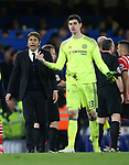 Chelsea's Antonio Conte with Thibaut Courtois during the Premier League match at Stamford Bridge Stadium, London. Picture date: April 25th, 2017. Pic credit should read: David Klein/Sportimage