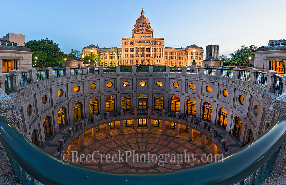 This is a vertical and horizon panorama of the Texas State Capitol at dusk.  With this we are able to capture all the levels below ground all the way down to the star in the Rotundra to the Capitol itself. This fine art image of the Texas Capital is a unique piece for any office or home.