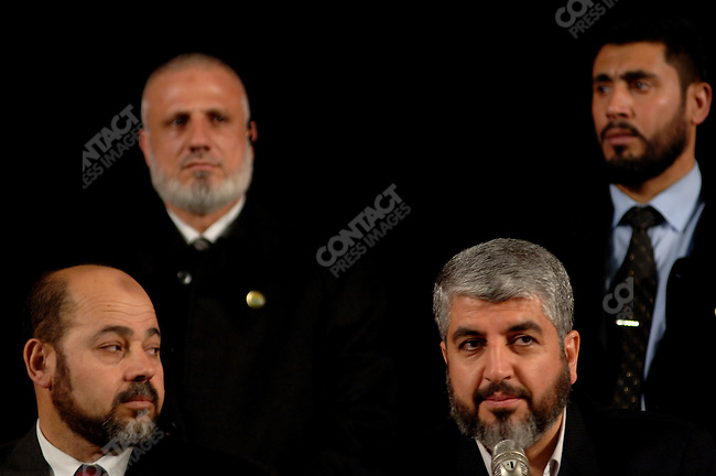 A Hamas delegation, including Khaled Meshaal (R) and Moussa Abu Marzouk (L) gave a press conference at the Russian Foreign Ministry press centre in Moscow on the first day of an official visit to Russia after having been invited for talks by President Putin.