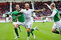 HIBERNIAN'S GARRY O'CONNOR CELEBRATES AFTER HE SCORES HIBS SECOND