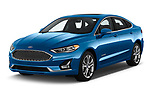 2019 Ford Fusion-Hybrid Titanium  4 Door Sedan angular front stock photos of front three quarter view