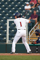 Fort Myers Miracle center fielder Tanner English (1) at bat during a game against the Brevard County Manatees on April 13, 2016 at Hammond Stadium in Fort Myers, Florida.  Fort Myers defeated Brevard County 3-0.  (Mike Janes/Four Seam Images)