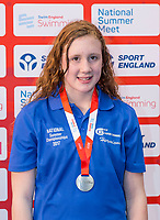 Picture by Allan McKenzie/SWpix.com - 05/08/2017 - Swimming - Swim England National Summer Meet 2017 - Ponds Forge International Sports Centre, Sheffield, England - Hermione Roe takes silver in the womens 12/13yrs 50m breaststroke.