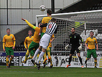 Holmbert Fridjonsson with a defensive header in the St Mirren v Celtic Scottish Professional Football League Under 20 match played at St Mirren Park, Paisley on 30.4.14.
