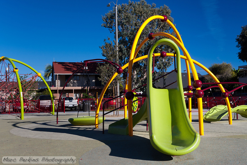 The slide play structure at Circle Park, a pocket park located on Park Circle Drive in Anaheim, California.