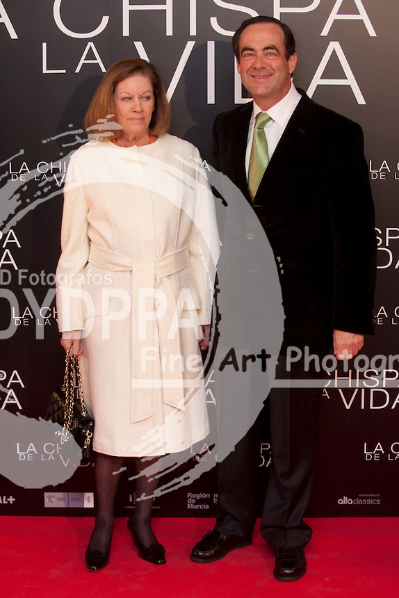 "12/01/2012. Callao Cinema. Madrid. Spain. ""La chispa de la vida"" premiere. Natalia Figueroa and Jose Bono"