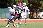 Manhattan Beach, CA 02-11-17 - Max Kollmorgen (Santa Clara #10) and Owen McNiff (Loyola Marymount #13) in action during the MCLA non-conference game between LMU (SLC) and Santa Clara (WCLL).  Santa Clara defeated LMU 18-3.